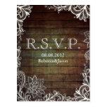 modern rustic barnwood lace country wedding RSVP Postcard