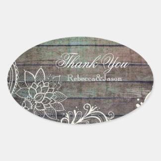 modern rustic barnwood lace wedding oval sticker