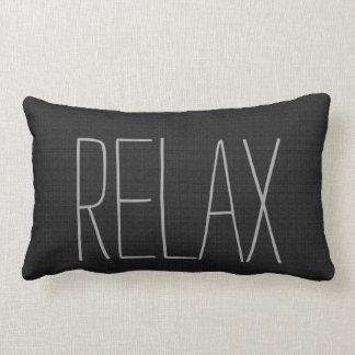 Modern rustic black burlap Relax script Lumbar Cushion