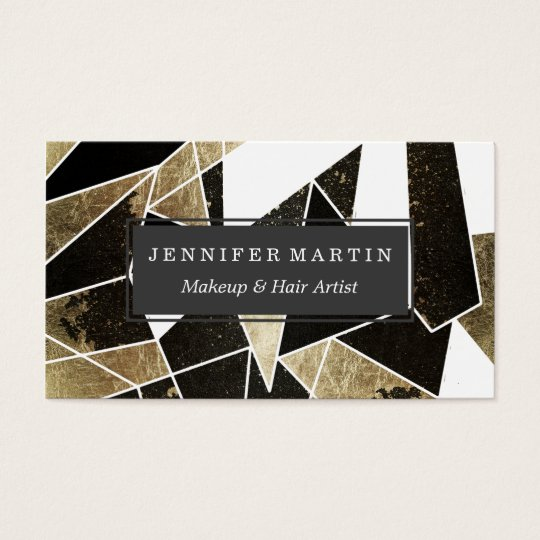 Modern Rustic Black White and Faux Gold Geometric