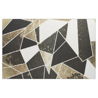 Modern Rustic Black White and Faux Gold Geometric Fabric