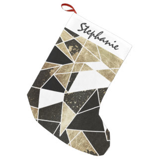 Modern Rustic Black White and Faux Gold Geometric Small Christmas Stocking