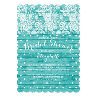 "Modern Rustic Blue Lace Bridal Shower Invitation 5"" X 7"" Invitation Card"