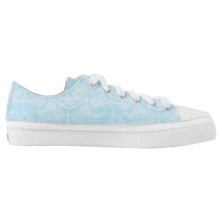 Modern Rustic Blue White Pastel Lace Low Tops