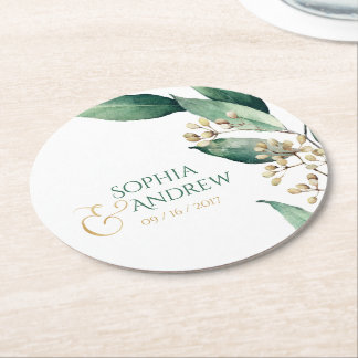 Modern rustic botanical greenery wedding monogram round paper coaster