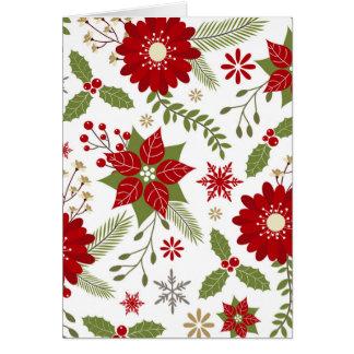 modern rustic Christmas flowers Card