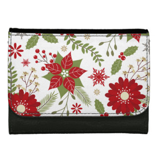 modern rustic Christmas flowers Wallet For Women