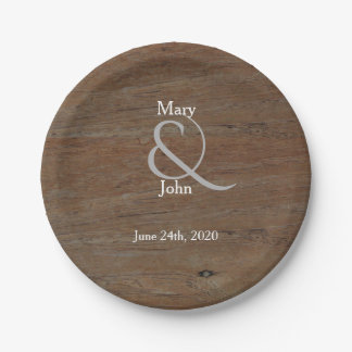 Modern Rustic country wedding dark brown wood 7 Inch Paper Plate