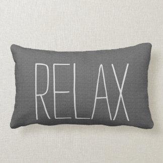 Modern rustic dark gray burlap Relax script Lumbar Cushion