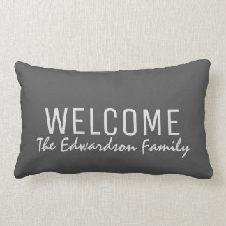 Modern rustic dark gray Welcome Family monogram Lumbar Pillow