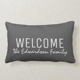 Modern rustic dark grey Welcome Family monogram