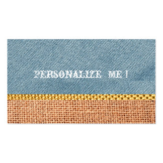 Modern Rustic Denim Burlap Save-the-Date Gold Pack Of Standard Business Cards