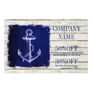 modern rustic drift wood blue anchor nautical 14 cm x 21.5 cm flyer
