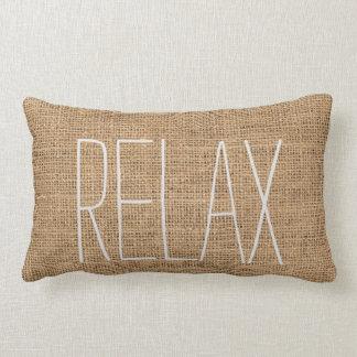 Modern rustic family burlap Relax script Lumbar Cushion