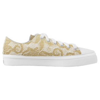Modern Rustic Golden White Royal Lace Low Tops