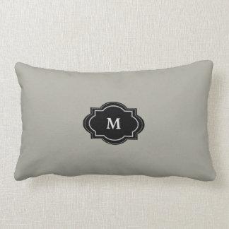 Modern Rustic Gray Green Monogram Throw Pillow