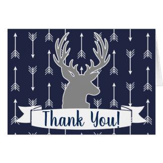 Modern Rustic Gray & Navy Deer & Arrow Thank You Card