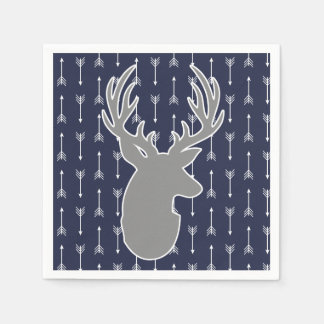 Modern Rustic Gray & Navy Deer & White Arrows Disposable Napkin