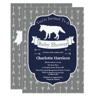 Modern Rustic Gray & White Wolf Arrows Baby Shower Card