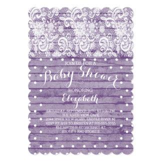 "Modern Rustic Lace Girls Baby Shower Invitation 5"" X 7"" Invitation Card"