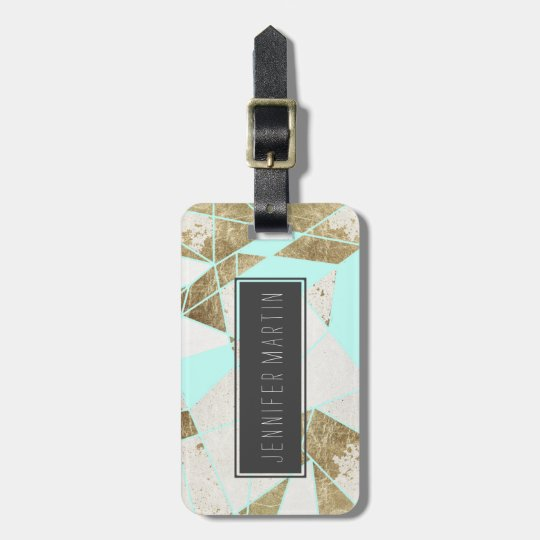 Modern Rustic Mint White and Faux Gold Geometric