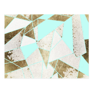 Modern Rustic Mint White and Faux Gold Geometric Postcard