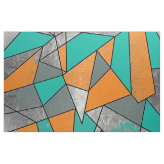 Modern Rustic Orange Teal Gray Silver Geometric Fabric