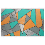 Modern Rustic Orange Teal Grey Silver Geometric Fabric