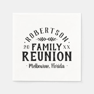 Modern Rustic Personalized Family Reunion Disposable Napkin