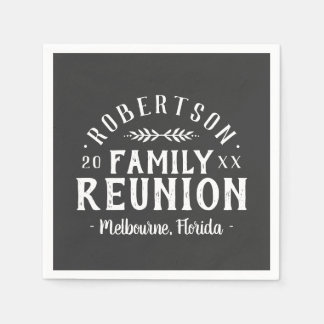 Modern Rustic Personalized Family Reunion Disposable Serviettes