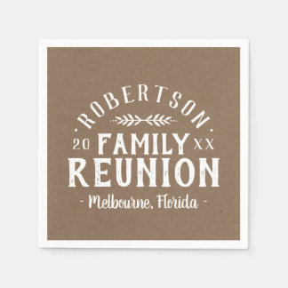 Modern Rustic Personalized Family Reunion Paper Napkins