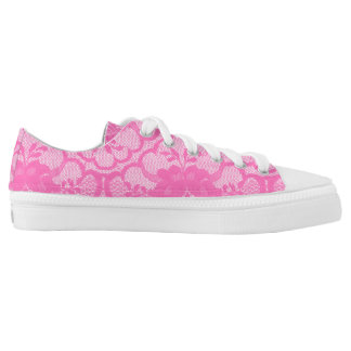 Modern Rustic Pink White Pastel Lace Low Tops