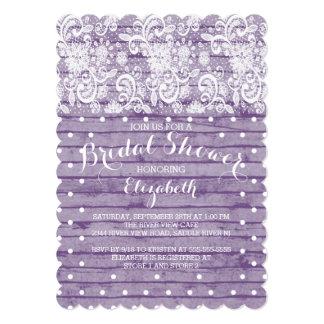 "Modern Rustic Purple Lace Bridal Shower Invitation 5"" X 7"" Invitation Card"