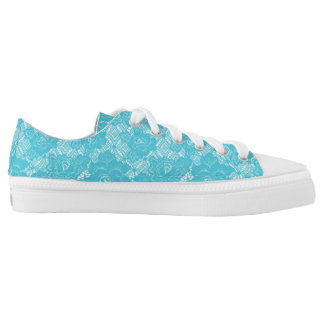 Modern Rustic Turquoise White Pastel Lace Low Tops