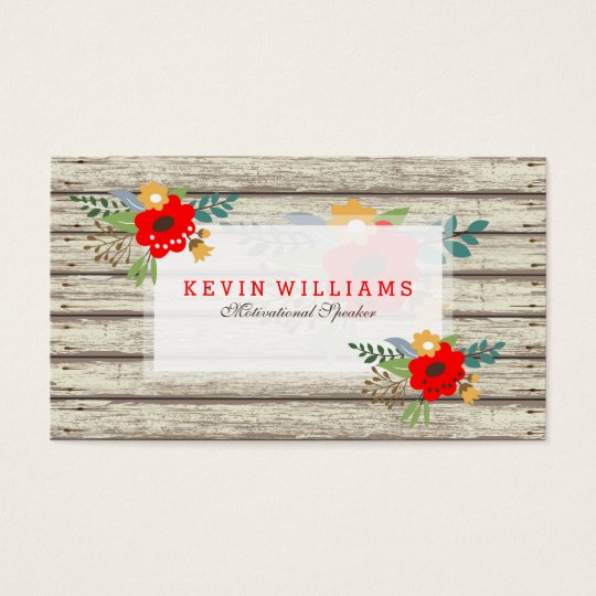 Modern Rustic White Paint Wood & Flowers Accent