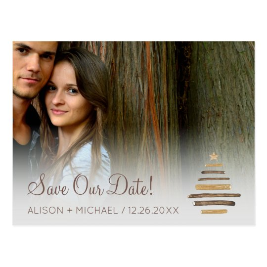 Modern rustic winter wood photo wedding save date