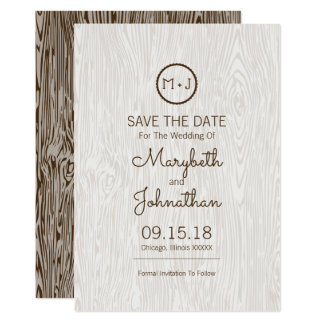 Modern Rustic Woodgrain Wedding Save The Date Card