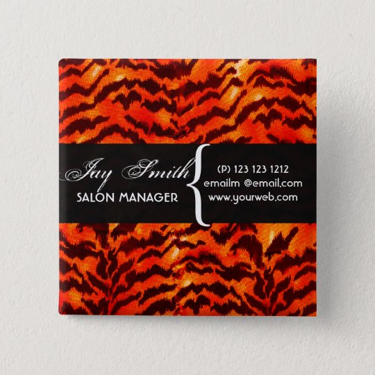 Modern Safari  WildLife Stripes Pattern  Name Tag 15 Cm Square Badge