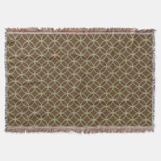 Modern Sage Green and Chocolate Brown Circles Throw Blanket