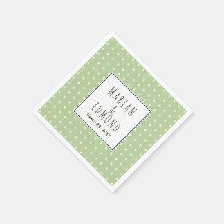 Modern sage green geometric typography wedding paper napkin