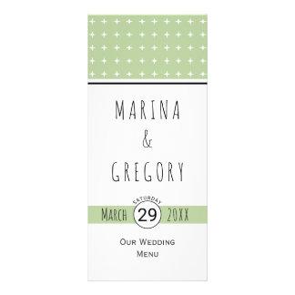 Modern sage green typography wedding menu card rack card template