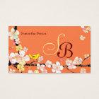 Modern Sakura Bird Monogram Business Cards