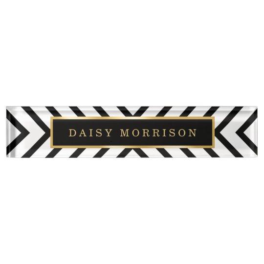 Modern Sassy Gold Black White Stripes Pattern Name