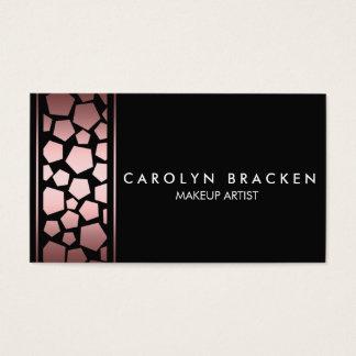 Modern Satin Pink Pentagon Black Business Card