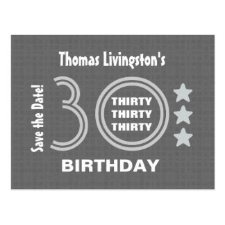Modern Save the Date 30th Birthday Party V30F Post Card