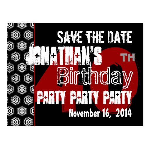 Modern Save the Date 40th Birthday Party R204 Post Cards