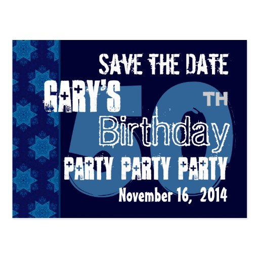 Modern Save the Date 50th Birthday Party R203H Postcards