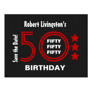 Modern Save the Date 50th Birthday Party V50D Postcard