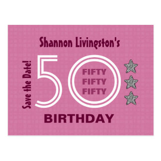 Modern Save the Date 50th Birthday Party V50E Post Cards