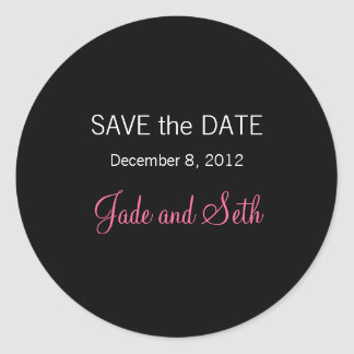 modern save the date classic round sticker